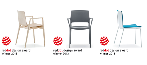 Pedrali score hat trick at red dot design awards for Chair design awards